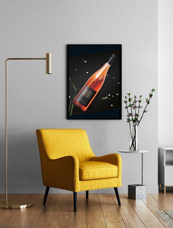 Weinposter Rosé Wohnzimmer